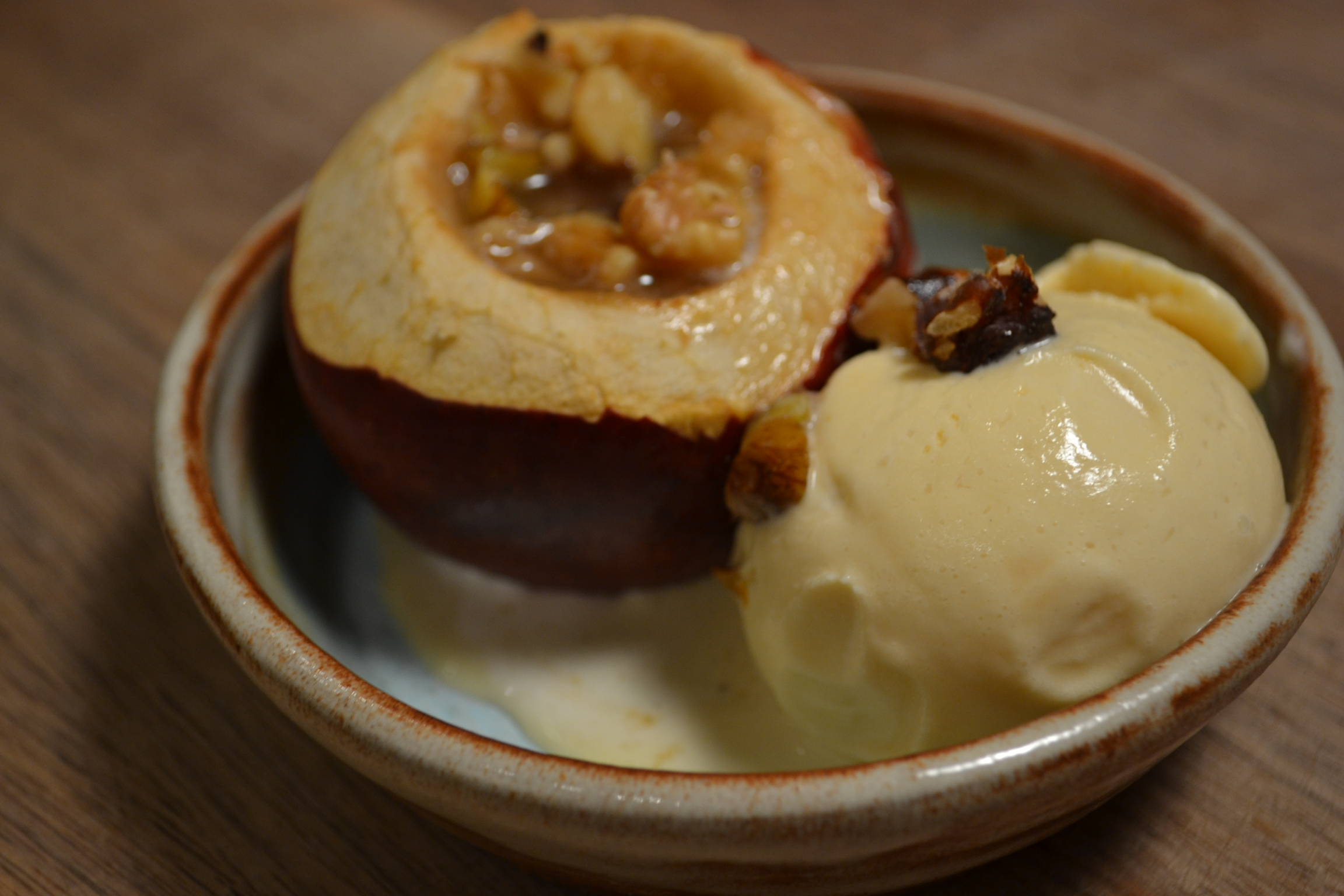apple cider ice cream with baked apples & walnuts | solarpoweredkate